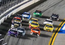 Denny Hamlin (11) races ahead of the pack during the 63rd Daytona 500. (Dick Ayers Photo)