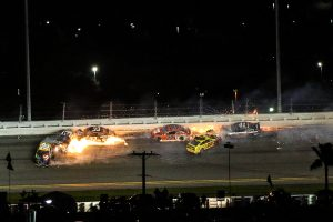 Flames erupt from several cars during a last-lap crash during the 63rd Daytona 500. (Dick Ayers Photo)