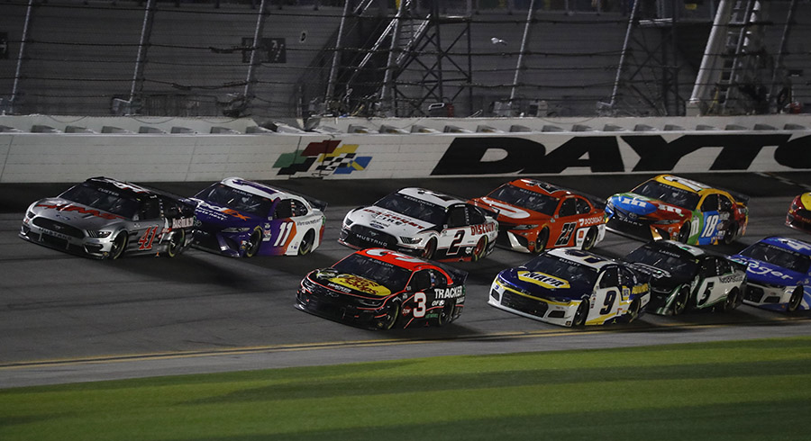 Cole Custer (00) and Austin Dillon (3) lead the pack during Sunday's 63rd Daytona 500. (HHP/Harold Hinson Photo)