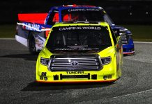 Matt Crafton (88) races ahead of Stewart Friesen during Friday's NASCAR Camping World Truck Series event on the Daytona Road Course. (Photo by Brian Lawdermilk/Getty Images)