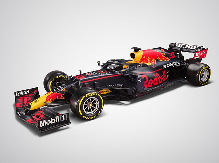 The Red Bull Racing RB16B that will be driven this year by Max Verstappen and Sergio Perez.