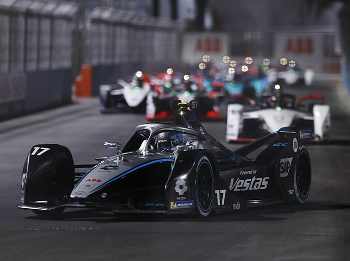 Nyck de Vries drove to victory in Formula E's first night race on Friday. (Formula E Photo)