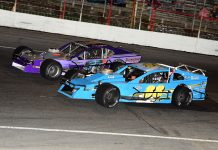 Sean Verwys (88) goes toe-to-toe with veteran John Markovic last season at Mahoning Valley Speedway (Cady Frey Photo)