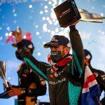 Sam Bird celebrates after winning Saturday's Formula E event.