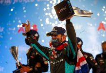 Sam Bird celebrates after winning Saturday's Formula E event.