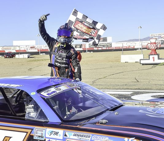 Tanner Reif celebrates after winning the second qualifying dual race during the Chilly Willy on Saturday. (Sal Sigala Jr. Photo)