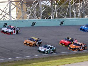 Myatt Snider (2) battles Jeb Burton (10) and Harrison Burton (20) early in Saturday's race at Homestead-Miami Speedway. (Dave Moulthrop Photo)