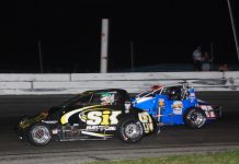 Kyle O'Gara (67) battles Kody Swanson at Showtime Speedway. (David Sink photo)
