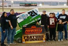 Evan Burrola in victory lane Sunday at Delta Speedway.