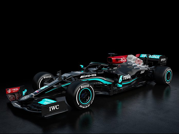 The Mercedes-AMG F1 W12 E Performance race car that will contest the 2021 Formula One schedule with drivers Lewis Hamilton and Valtteri Bottas.