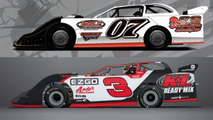 The cars Corey LaJoie (07) and Austin Dillon (3) will drive during the Bristol Dirt Nationals.