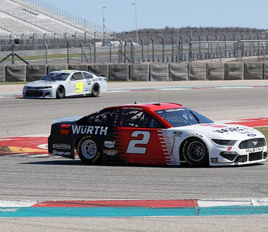 Brad Keselowski (2) and Chase Elliott (9) got their first taste of Circuit of the Americas during a tire test on Tuesday. (HHP/Harold Hinson Photo)