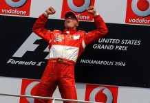 Michael Schumacher, seen here after winning the 2006 United States Grand Prix at Indianapolis Motor Speedway, has been elected to the Indianapolis Motor Speedway Hall of Fame. (IMS Photo)