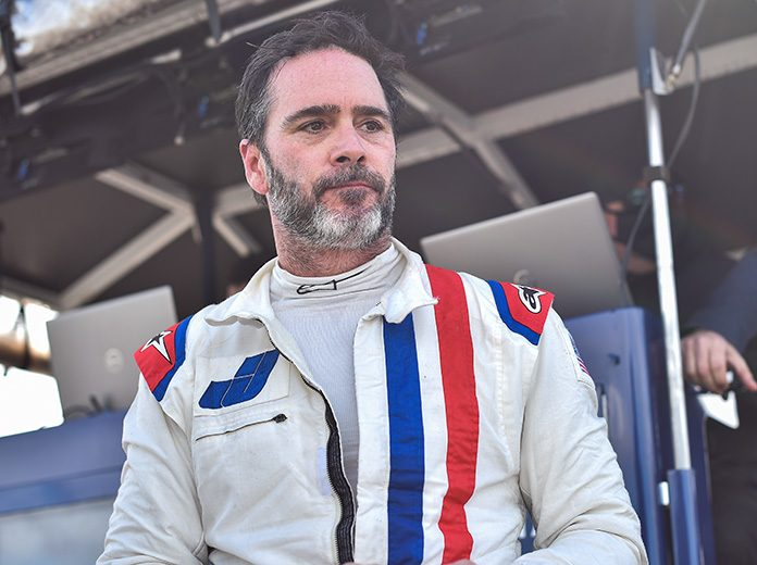 Jimmie Johnson battled food poisoning, but still made it to IndyCar Content Day Thursday in Indianapolis. (IndyCar Photo)