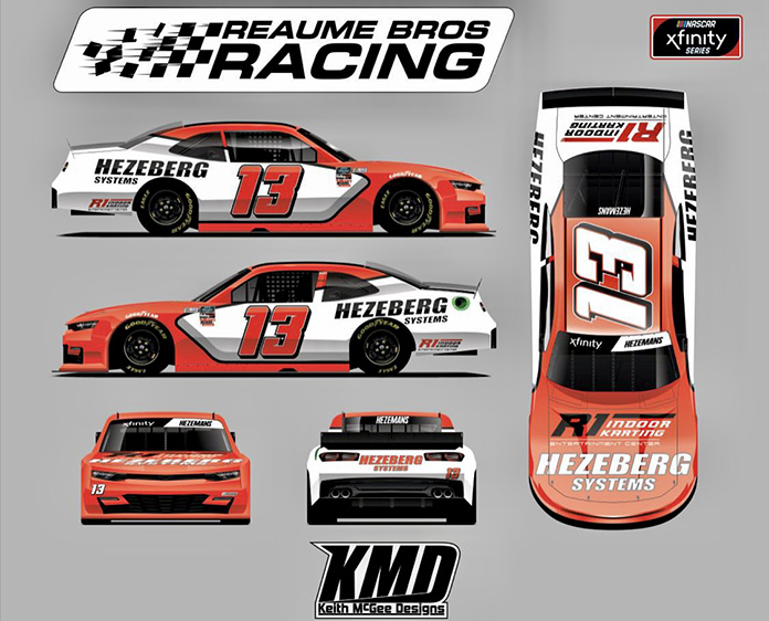 Loris Hezemans will drive the No. 13 for Reaume Brothers Racing in two NASCAR Xfinity Series races this year.