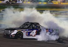 John Hunter Nemechek celebrates with a burnout after winning Friday's NASCAR Camping World Truck Series race. (HHP/Jim Fluharty Photo)