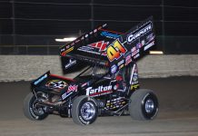 Carson Macedo en rout to victory at Volusia Speedway Park. (David Sink photo)