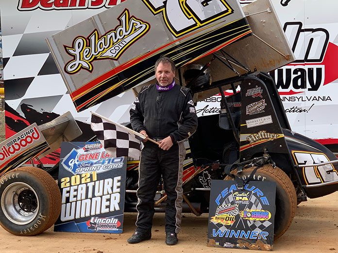 Tim Shaffer picked up his first 410 sprint car win of the year Saturday at Lincoln Speedway. (Dan Demarco Photo)