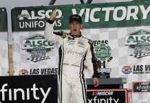 A.J. Allmendinger celebrates his victory Saturday at Las Vegas Motor Speedway. (HHP/Harold Hinson Photo)