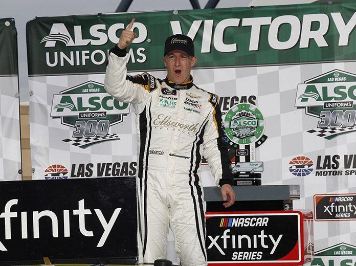 A.J. Allmendinger celebrates his victory Saturday at Las Vegas Motor Speedway. (HHP/Harold Hinson Photo)