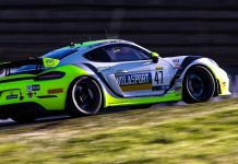 Matt Travis and Jason Hart took the No. 47 NOLASPORT Porsche to victory Saturday at Sonoma Raceway.