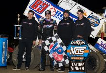Aaron Reutzel in victory lane at East Bay Raceway Park. (WoO photo)