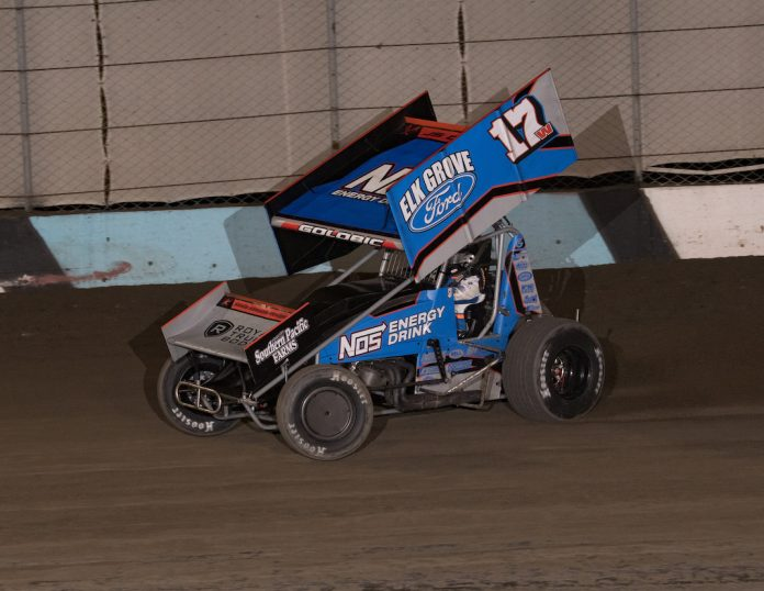 Shane Golobic en route to victory at The Dirt Track at Kern County. (Joe Shivak photo)