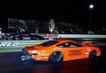 Fernando Cuadra Jr. (far lane) beat brother Christian Cuadra (near lane) to win the Pro Stock portion of the Doorslammer Nationals. (Luke Nieuwhof Photo)