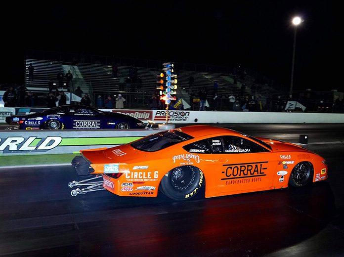 Fernando Cuadra Jr. (far lane) beat brother Christian Cuadra (near lane) to win the Pro Stock portion of the Doorslammer Nationals. (Luke Nieuwhof Photo)