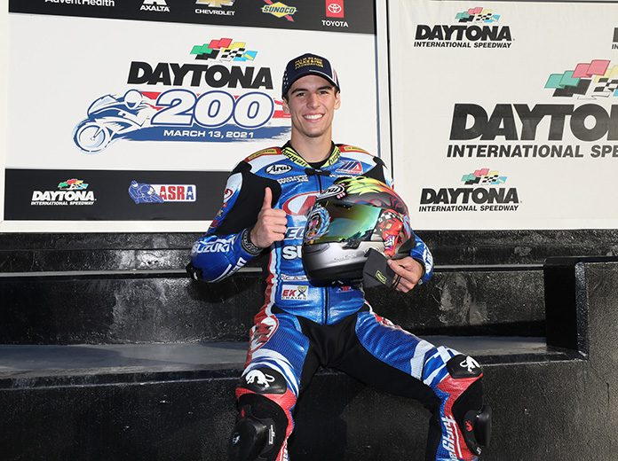 Sean Dylan Kelly earned the pole for the Daytona 200 Friday at Daytona Int'l Speedway. (DIS Photo)