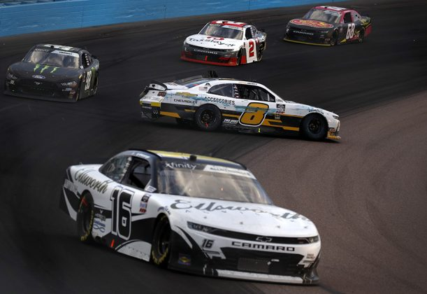 Josh Berry (8) spins his Chevrolet during Saturday's NASCAR Xfinity Series event at Phoenix Raceway. (Christian Petersen/Getty Images Photo)