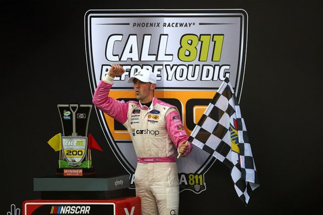 Austin Cindric celebrates after winning Saturday's NASCAR Xfinity Series event at Phoenix Raceway. (Abbie Parr/Getty Images Photo)