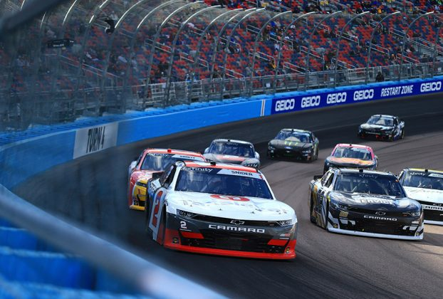 Myatt Snider (2) races ahead of the NASCAR Xfinity Series field Saturday at Phoenix Raceway. (HHP/Jim Fluharty Photo)