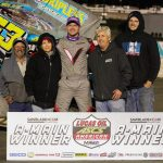J.J. Hickle in victory lane at Devil's Bowl Speedway. (David Campbell photo)
