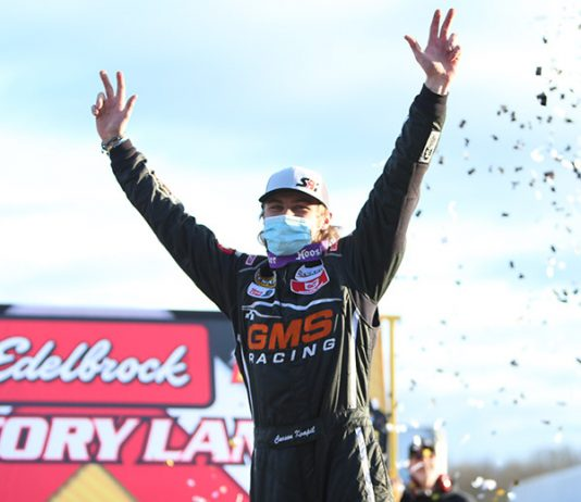 Carson Kvapil celebrates his first CARS Super Late Model Tour victory Saturday at Hickory Motor Speedway. (Adam Fenwick Photo)