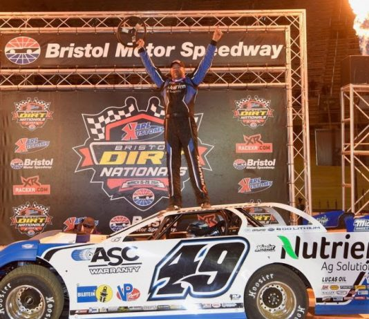 Jonathan Davenport in victory lane at Bristol Motor Speedway. (BMS photo)