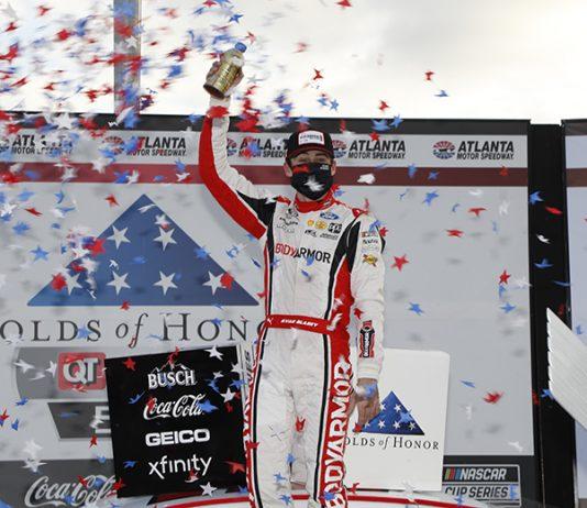 Ryan Blaney celebrates after his victory Sunday at Atlanta Motor Speedway. (HHP/Harold Hinson Photo)