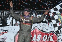 Hudson O'Neal celebrates after winning the Buckeye 50 Sunday at Atomic Speedway. (Mike Campbell Photo)