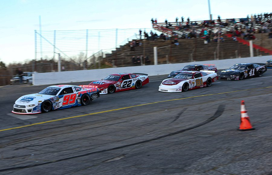 Layne Riggs (99) leads the pack on the opening lap of Saturday's CARS Late Model Stock Tour event at Hickory Motor Speedway. (Adam Fenwick Photo)