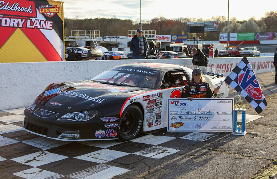 Carson Kvapil poses in victory lane after winning his first CARS Super Late Model Tour event at Hickory Motor Speedway on Saturday. (Adam Fenwick Photo)