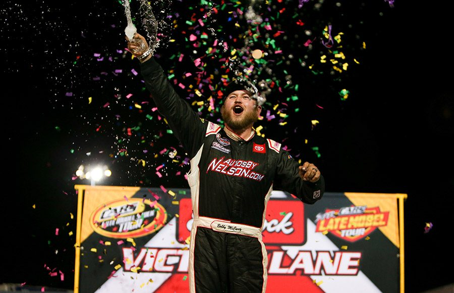 Bobby McCarty celebrates after winning Saturday's CARS Late Model Stock Tour feature at Hickory Motor Speedway. (Adam Fenwick Photo)
