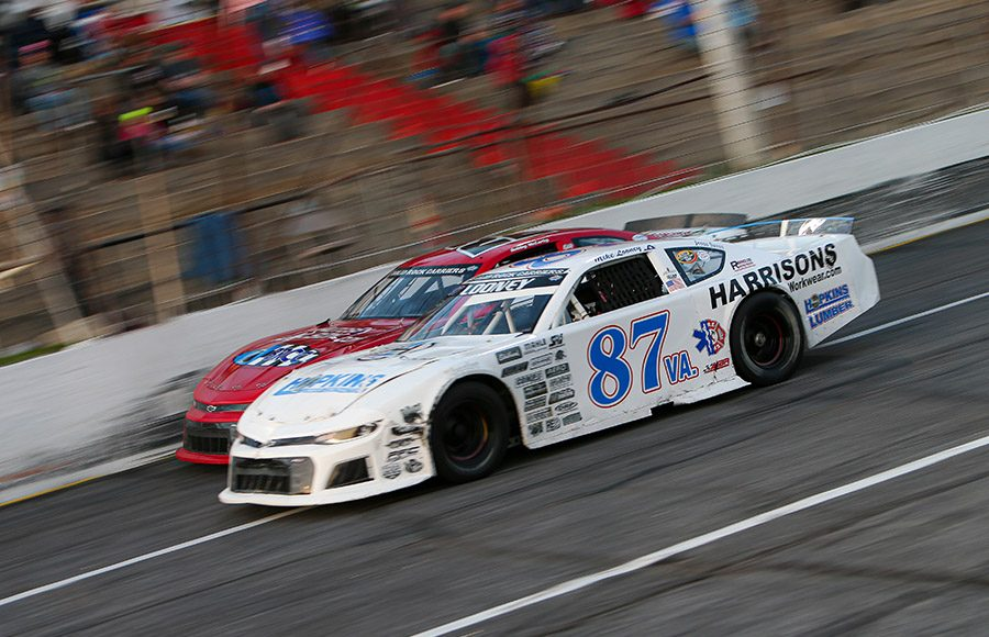 Mike Looney (87) battles Bobby McCarty during Saturday's CARS Late Model Stock Tour event at Hickory Motor Speedway. (Adam Fenwick Photo)