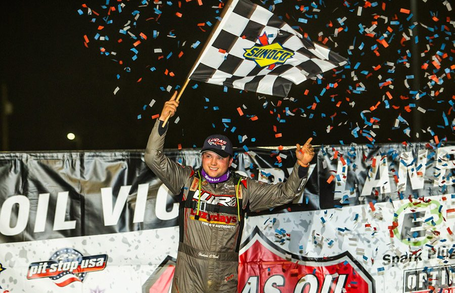 Hudson O'Neal celebrates after winning Sunday's Lucas Oil Late Model Dirt Series event at Atomic Speedway. (Heath Lawson Photo)