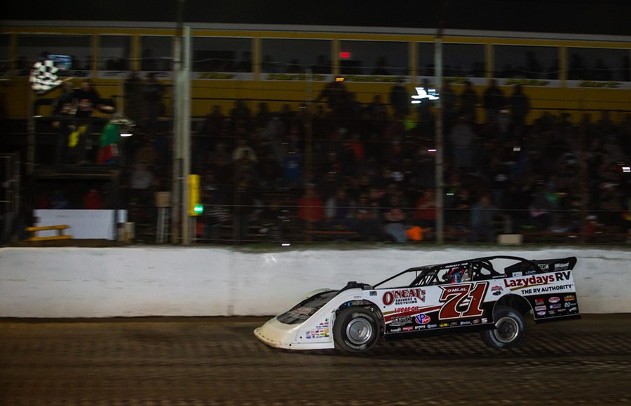 Hudson O'Neal crosses the finish line to win Sunday's Lucas Oil Late Model Dirt Series event at Atomic Speedway. (Heath Lawson Photo)