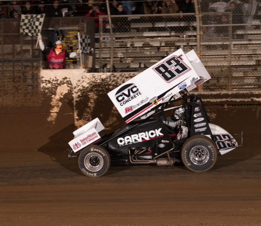 Tanner Carrick takes the checkered flag at Placerville Speedway. (Devin Mayo photo)
