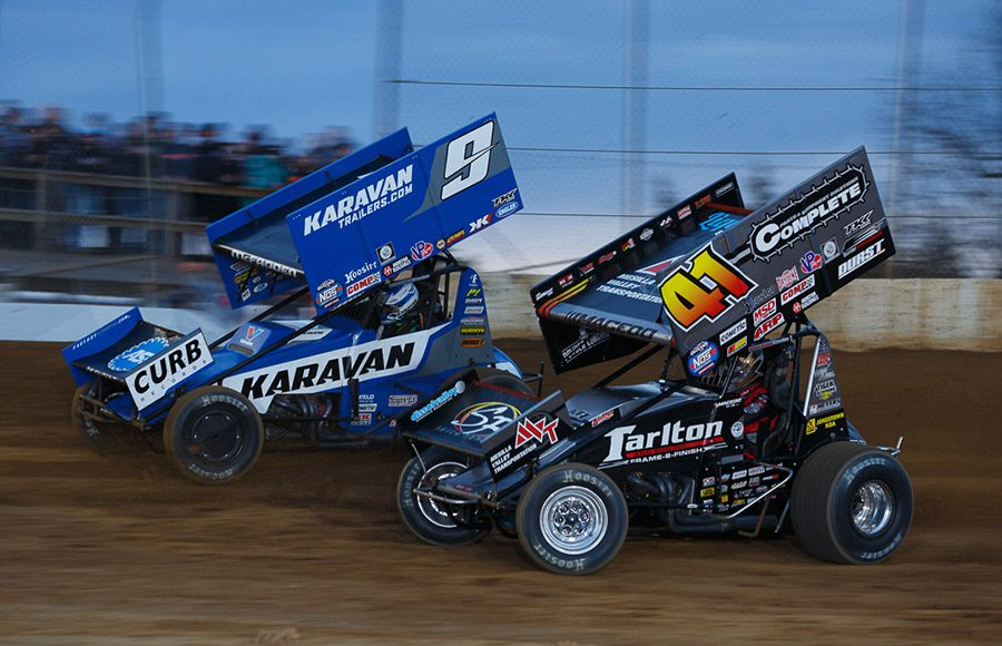 Carson Macedo (41) and James McFadden battle for position during Saturday's Jason Johnson Classic at Lake Ozark Speedway. (Russell Moore Photo)