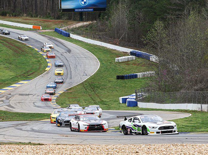 Franklin Futrelle (58) leads the Trans-Am Series TA2 field Sunday at Michelin Raceway Road Atlanta.