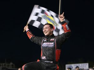 Derek Griffith celebrates in victory lane Friday at Hickory Motor Speedway. (Adam Fenwick Photo)