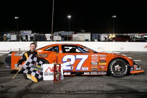 Wayne Helliwell Jr. in victory lane Friday at Hickory Motor Speedway. (Adam Fenwick Photo)