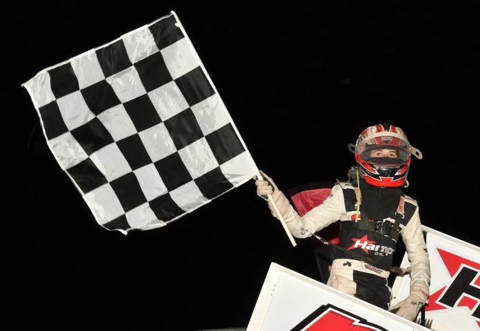 Ryan Timms in victory lane. (Ken Simon photo)